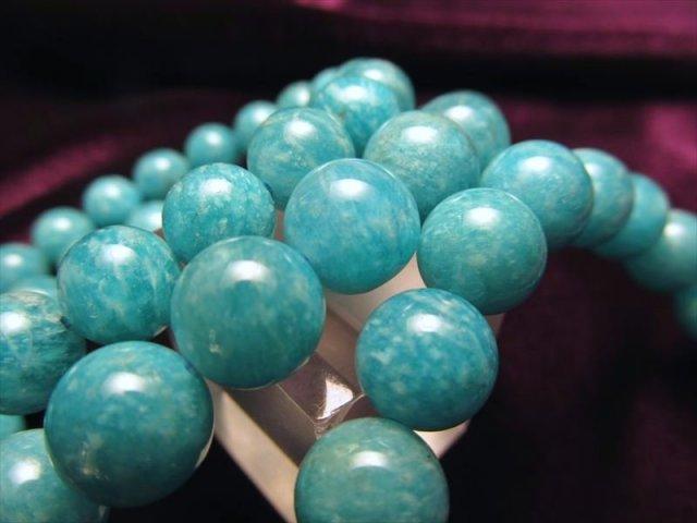 2A+ アマゾナイト(天河石)ブレスレット 8.5mm-9mm×22珠前後 人気の霜降りブルーグリーンタイプ ブラジル産