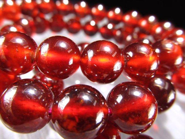 3A オレンジガーネット(ヘソナイト) ブレスレット 約10mm×19珠前後 努力を実らせる石 艶やかなレッドオレンジ スリランカ産