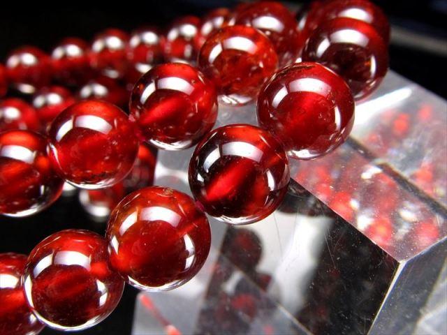 3A オレンジガーネット(ヘソナイト) ブレスレット 約8mm×24珠前後 努力を実らせる石 艶やかなレッドオレンジ スリランカ産