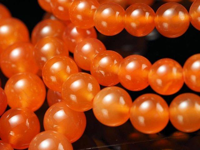 オレンジカーネリアン ブレスレット 10mm-10.5mm×19珠前後 透明感 成功に導く石 ブラジル産