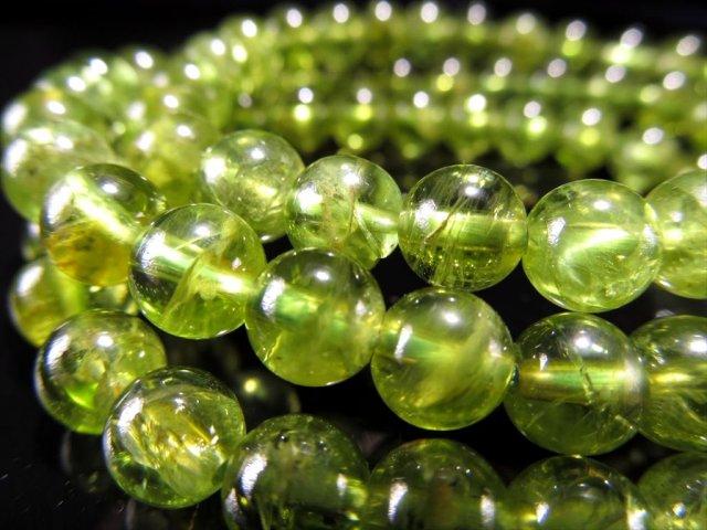 2A ペリドット ブレスレット 6mm-6.5mm×29珠前後 かんらん石 透明感抜群 濃厚黄緑 ミャンマー産