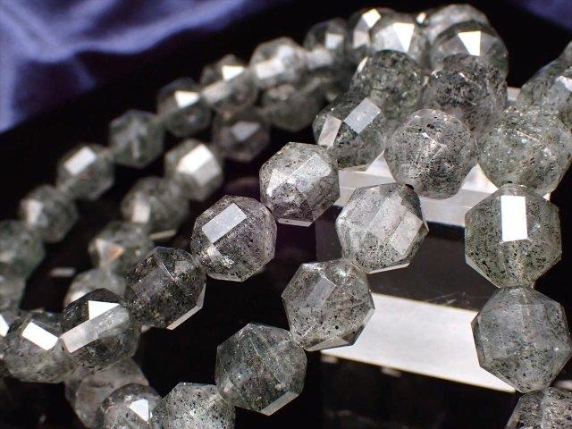 ダークカラー フィリフォーム(毛状)・クリスタルインクォーツ 多面カット ブレスレット 約9mm×18珠前後 たっぷりインクルージョン 8種以上の鉱物を内包した水晶 ブラジル産