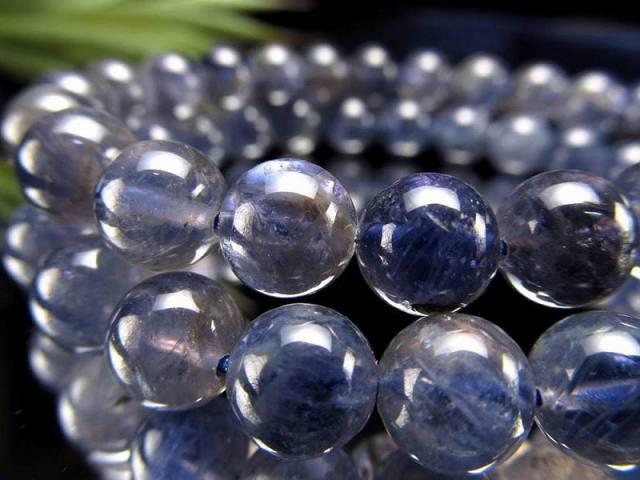 2A アイオライト ブレスレット 約9.5mm×20珠前後 宇宙のような神秘的ブルー 夢や目標へ導く石 きんせい石 スリランカ産