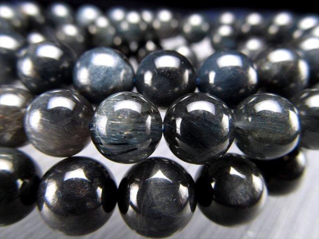 ブルールチルクォーツ ブレスレット 8.5mm-9mm×21珠前後 びっしり濃密 繊維状結晶 ブルーグレーカラー ブラジル産