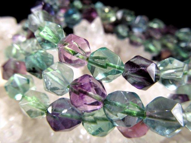 寒色MIXフローライト 20面カット ブレスレット 約7.5mm×23珠前後 極上 クールカラー グリーンやパープルの美しい蛍石 アメリカ産