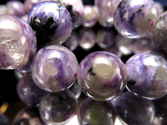 エンジェルシリカ ブレスレット 12mm-12.5mm×16珠前後 ブラックチャロアイト入り 優しく包み込むような癒しの石 水晶共生