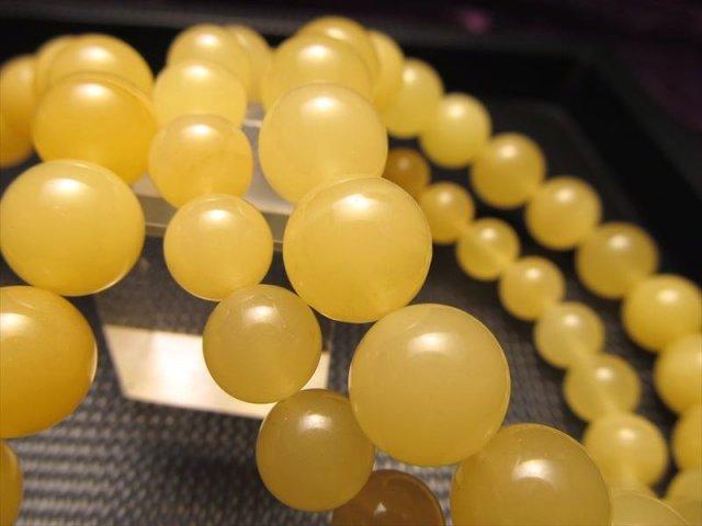 5A 蜜蝋アンバー(天然琥珀)ブレスレット 約7mm×26珠前後 大人気 ミルキー蜂蜜色 バルト海産