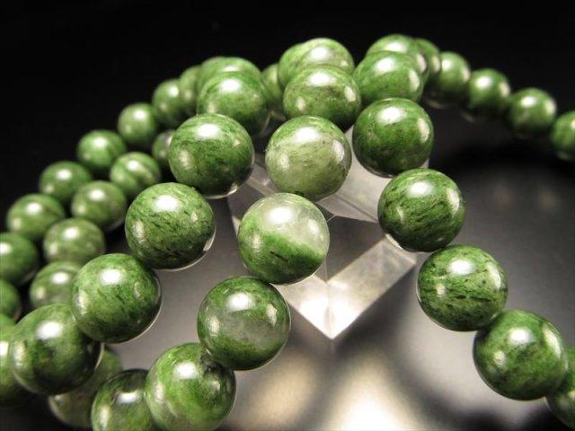 ガーネットを含んだ天然ダイオプサイト クロムダイオプサイトブレスレット 9.5-10mm×21珠前後 多種鉱物との共生 南アフリカ産
