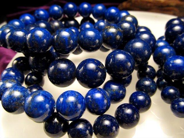 3A+ ラピスラズリ(青金石)ブレスレット 12-12.5mm×16珠前後 9月の誕生石 幸運の象徴 アフガニスタン産