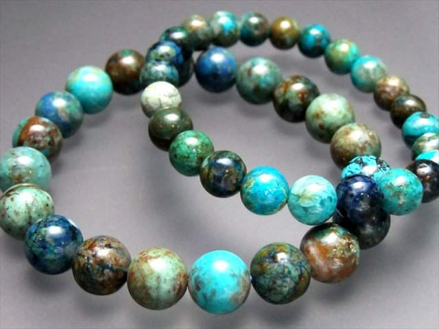 激安宣言 AA クリソコラ ブレスレット 9.5-10ミリ×20珠前後 まるで地球 幸運と繁栄の象徴(珪孔雀石) ペルー産 geki of-F2