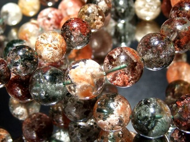 大特価 4A ガーデンクォーツ(庭園水晶)ブレスレット 約9mm×21珠前後 びっしり 色とりどりガーデン ブラジル産