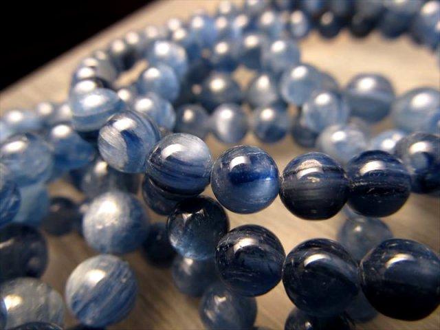 3A カイヤナイト(藍晶石)ブレスレット 8-8.5mm×23珠前後 独立心や探究心を強める石 ブラジル産
