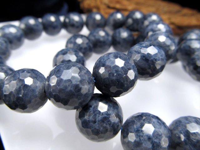 AA サファイア(青玉)ミラーボールカットブレスレット 約9mm-9.5mm×21珠前後 勝利を呼ぶ石 ミャンマー産