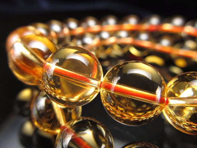 5A 宝石質 シトリン(黄水晶)ブレスレット 8.5mm-9mm×22珠前後 幸運の石 ブラジル産
