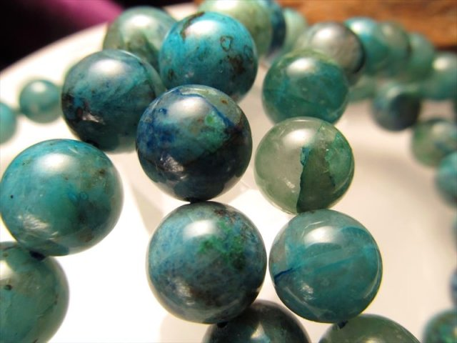 3A クリソコラシリカ(珪孔雀石)ブレスレット 約11mm-11.5mm×18珠前後 ジェムシリカ 水晶と混ざり合ったクリソコラ ペルー産