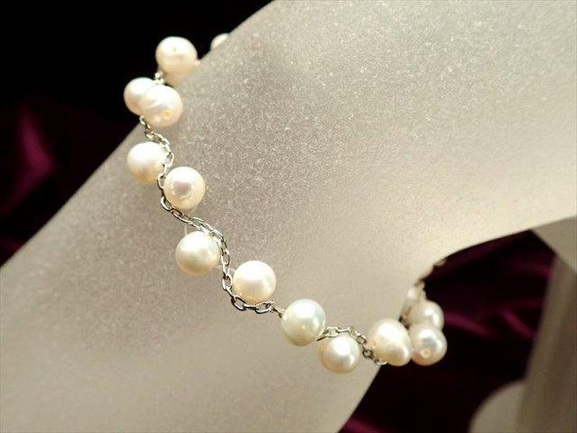淡水パールシルバーデザインブレスレット 珠サイズ約5.5mm Silver925 アジャスター金具付き ホワイトパール