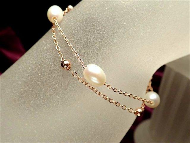 淡水パールピンクゴールドデザインブレスレット 珠サイズ約6mm Silver925 アジャスター金具付き ホワイトパール