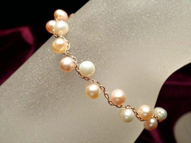 淡水パールピンクゴールドデザインブレスレット 珠サイズ約5.5mm Silver925 アジャスター金具付き オレンジ・ピンク・ホワイトMIXカラー