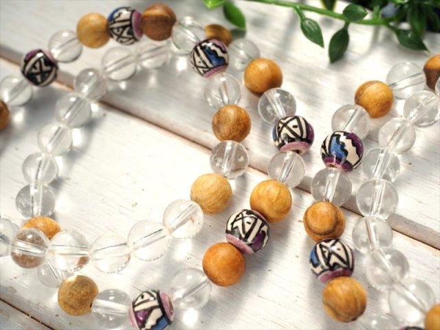 パロサントウッド(ホーリーツリー)&水晶 デザインブレスレット 約8mm×23珠前後 可愛らしいデザインブレスレット 聖なる樹ホーリーツリー 古代インカ帝国の魔除け ペルー産