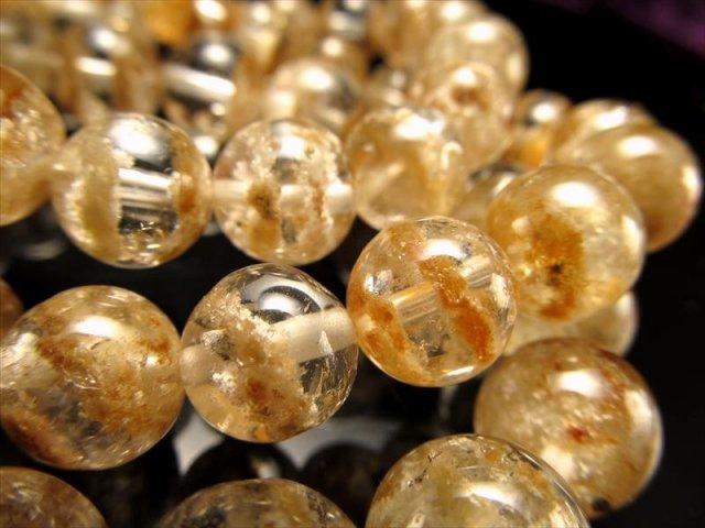 ホワイトベージュ庭園ファントムクォーツブレスレット 約14mm-14.5mm×15珠前後 暖かい癒しの波動 ふんわりガーデン ブラジル産