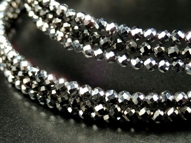 テラヘルツ&ブラックスピネル 3連ワイヤーブレスレット 石サイズ約2mm フリーサイズ カジュアルにもフォーマルにも ミャンマー産