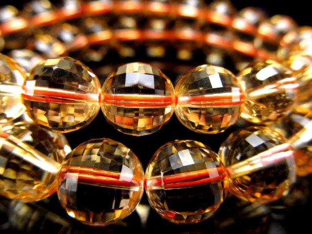 5A 宝石質 シトリン ミラーボールカット ブレスレット(黄水晶) 9mm-9.5mm×21珠前後 ブラジル産