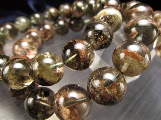 3A+ ガーデンファントムブレスレット 約12mm-12.5mm×17珠前後 庭園水晶 透明感抜群 神秘的な庭園風景 財運・ビジネスの成功のお守り ブラジル産