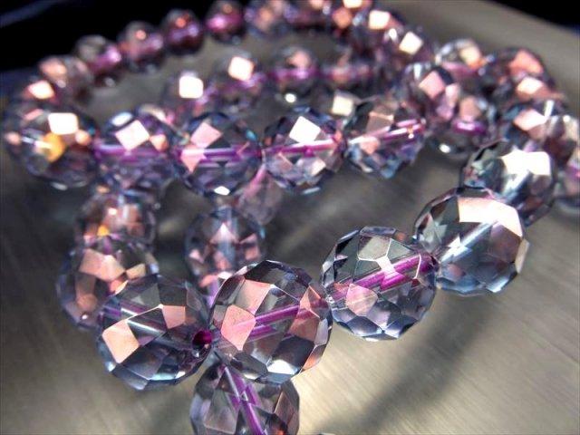 AAA キラキラ64面カット パープルオーラ(蒸着水晶)カットブレスレット 約8mm×23珠前後 天然水晶使用 高品質 アメリカ産