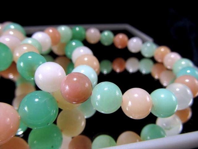 MIXカラーオパールブレスレット 約9.5mm-10mm×19珠前後 発色良好オパール 幸福感に満ちたエネルギーを持つ石 オーストラリア産