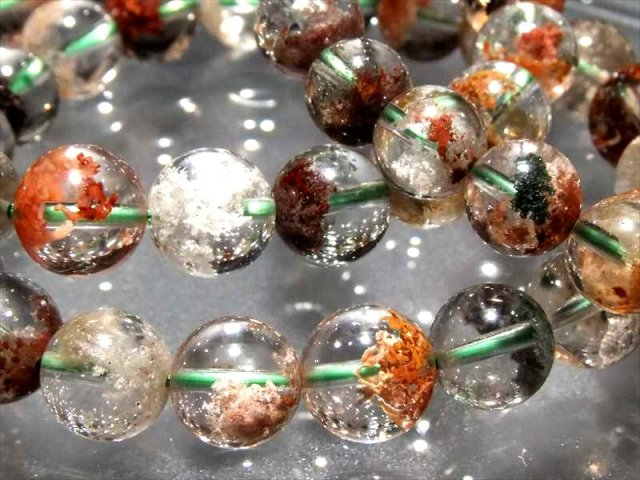 3A+ ガーデンクォーツ(庭園水晶)ブレスレット 約9mm-10mm×21珠前後 透明感抜群 色とりどりガーデン ブラジル産