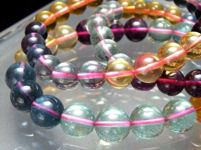 MIXフローライト(蛍石)ブレスレット 9mm-9.5mm×22珠前後 虹のようなグラデーションカラー 天才の石 アメリカ産