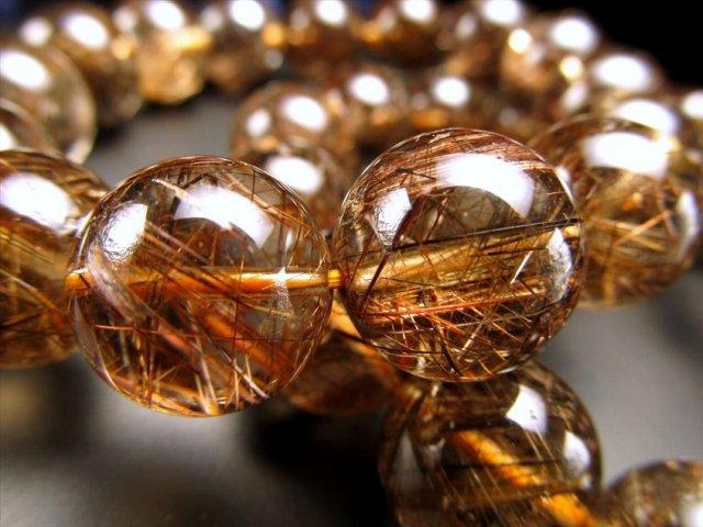 3A スモーキーブラウンルチルクォーツブレスレット 10.5mm-11mm×19珠前後 極太針&繊細針 透明度抜群 濃厚ブラウン針 ブラジル産
