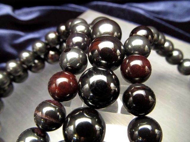 ブラックアイアン・スギライト(杉石)ブレスレット 約7.5mm×25珠前後 ヘマタイトとの共生 守護石 南アフリカ産