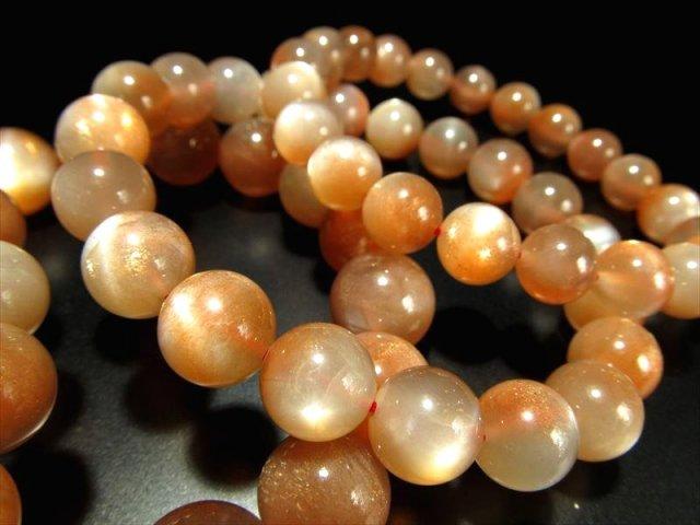 バイカラーオレンジムーンストーンブレスレット 9mm-9.5mm×21珠前後 極上アベンチュレッセンスの煌き 永遠の愛の象徴 インド産