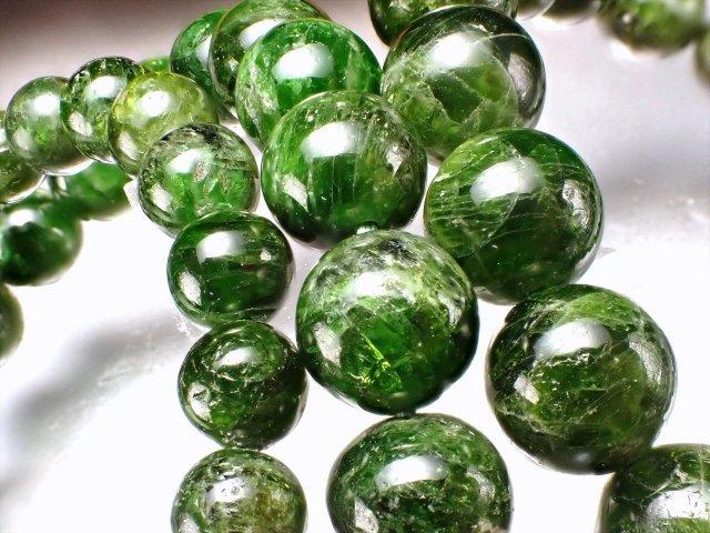 3A クロムダイオプサイト ブレスレット 約10.5mm-11mm×19珠前後 緑色透輝石 自然の癒しを感じる深緑色 知恵と叡智 ロシア産