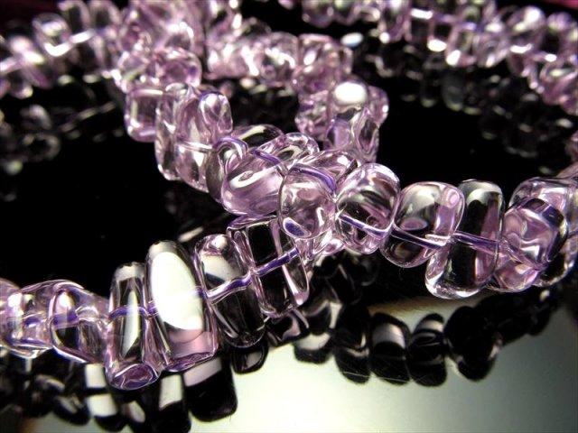5A【宝石質 ラベンダーアメジストさざれブレスレット】 幅約9mm-11mm 極上透明 つるんと丸いさざれタイプ 愛の守護石 【ブラジル産】
