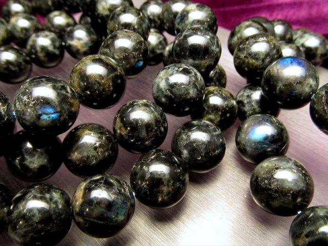 【スペクトロライトブレスレット】 12mm-12.5mm×17珠前後 激安 神秘的な輝き・高次元と繋がる石 【フィンランド産】