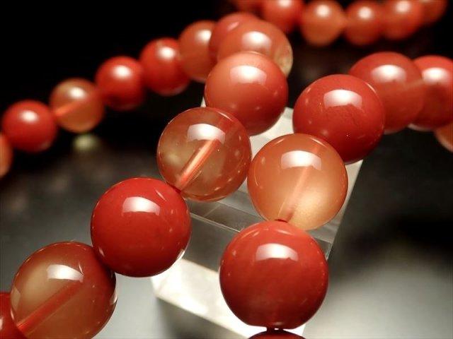 【レッドブラウンアンデシン(中性長石)ブレスレット】 約8.5mm-9mm×23珠前後 シラー効果あり 『変化と調和』の石 【チベット産】