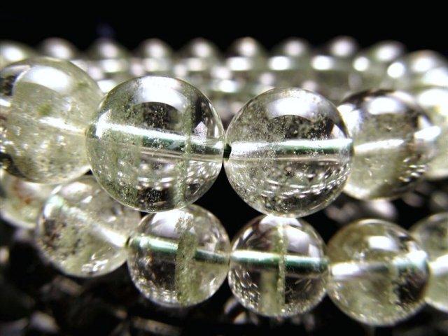グリーンガーデンファントム(緑庭園幻影水晶)ブレスレット 9mm-9.5mm×21珠前後 ふんわり緑ファントム 透明感抜群 ブラジル産