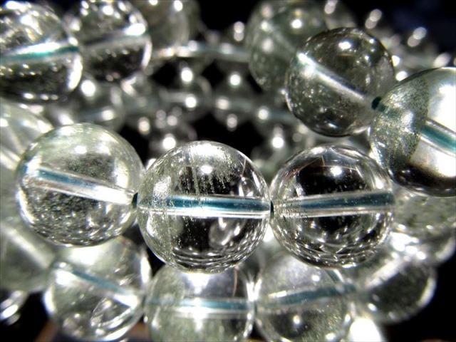 グリーンガーデンファントム(緑庭園幻影水晶)ブレスレット 9.5mm-10mm×20珠前後 ふんわり緑ファントム 透明感抜群 ブラジル産