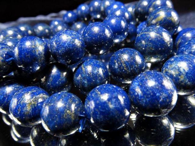 AA+【ラピスラズリ ブレスレット】12mm×17珠前後 12月の誕生石 幸運の象徴(青金石)【アフガニスタン産】