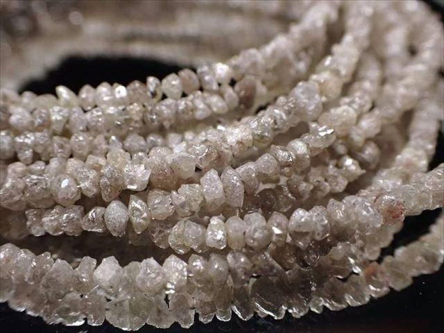 天然ホワイトダイアモンド 結晶原石ワイヤーブレスレット 約2mm-3mm SILVER925 永遠の絆の象徴 4月の誕生石