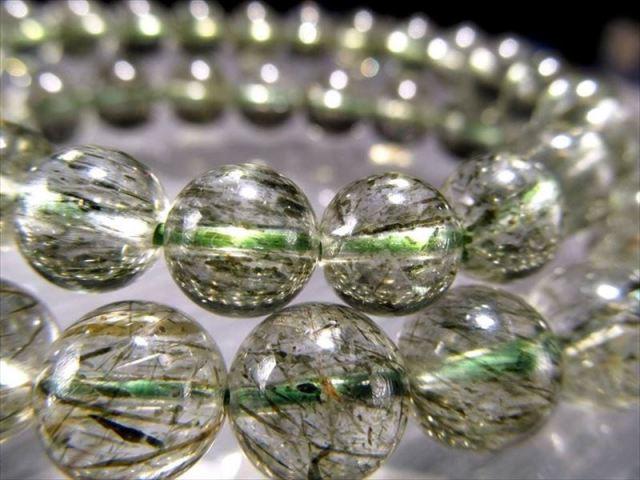 グリーンエピドートインクォーツ(緑簾石入り水晶)ブレスレット 9mm-9.5mm×21珠前後 生命力回復クォーツ 動画あり 南アフリカ産