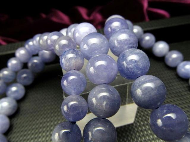 AA タンザナイト ブレスレット 約9mm-9.5mm×21珠前後 ミルキー&透明結晶入り 12月の誕生石 運気改善・導きの石 タンザニア産