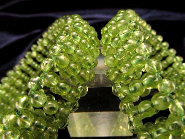 ペリドット(かんらん石)編み込みブレスレット タイプA 約3.5mm珠使用 ブレス幅約12.5mm つぶつぶ編み込みブレス ミャンマー産