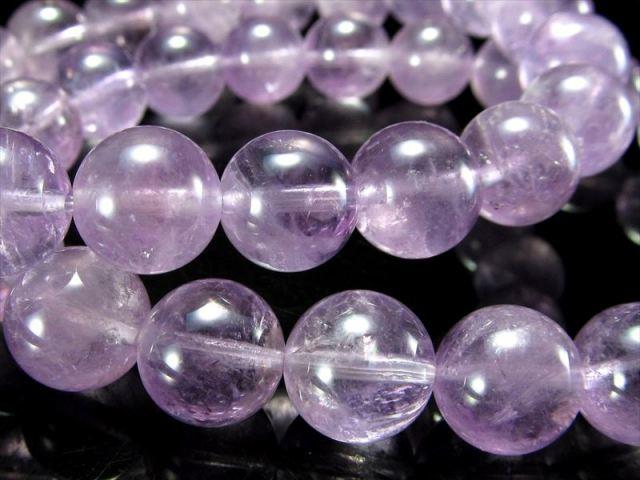 ラベンダーアメジスト(紫水晶)ブレスレット 約11mm-11.5mm×18珠前後 透明感あり 2月の誕生石 ブラジル産
