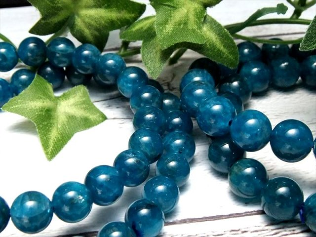 AA+ ネオンブルーアパタイト(燐灰石) ブレスレット 約9mm-9.5mm×22珠前後 鮮やか高発色 調和を象徴する石 透明感あり ブラジル産