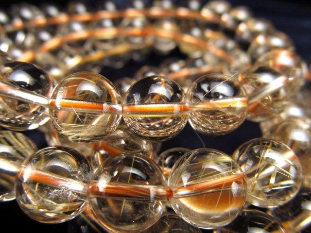 透明度抜群タイプ AA+ ゴールドルチルクォーツブレスレット 約10.5mm-11mm×19珠前後 太針入りも 金運の代表石 ブラジル産