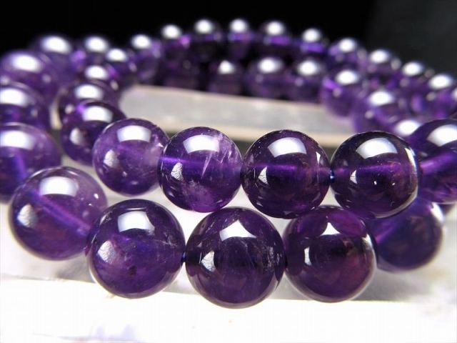 大特価 AA アメジスト(紫水晶)ブレスレット 11mm-11.5mm×18珠前後 透明感あり 愛の守護石 2月の誕生石 動画あり ブラジル産
