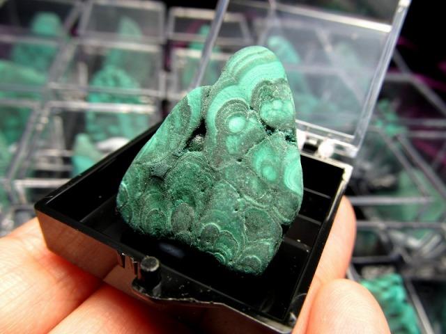 ミニチュア原石シリーズ マラカイト プレートタイプ 原石 ケース付き 心身の癒しに コレクションや標本に コンゴ産